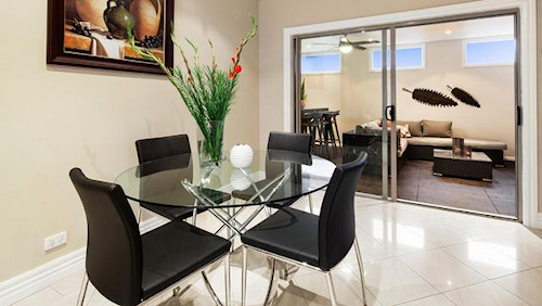 The dining area at Unit 1, 1 Westwood Drive, Bulleen