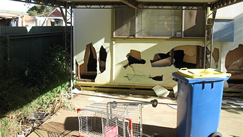 Wall panels were smashed in this Kalgoorlie home