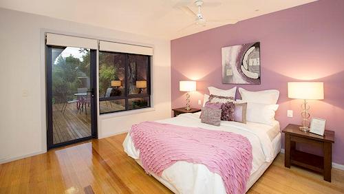 A bedroom inside 9 Medford Street, Altona