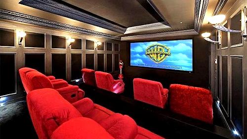 The home cinema in Shane Warne's mansion