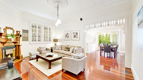 The living room at 7 Rose Street, Box Hill
