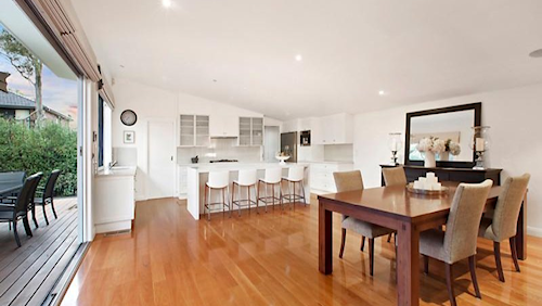 The spacious lounge at 34 Nicol Street, Highett